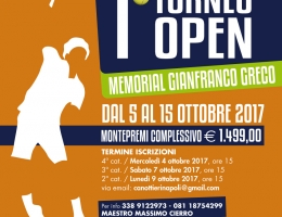 10 torneo open Memorial Gianfranco Greco, fino al 15/10